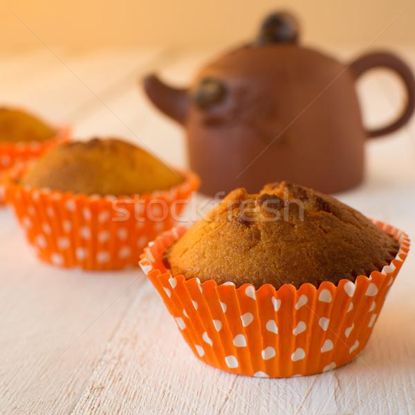 керамической чайник оранжевый бумаги Сток-фото © TasiPas