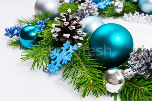 Navidad plata azul turquesa alegre abeto Foto stock © TasiPas