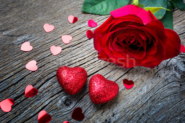 Valentines Day concept with red rose and hearts, copy space. Stock photo © TasiPas