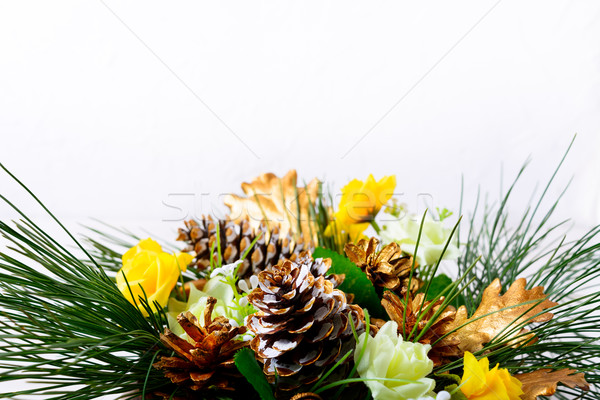 Christmas background with pine branches and golden fir cones Stock photo © TasiPas