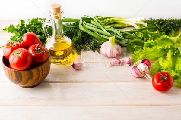 Sağlıklı beslenme olgun sebze zeytinyağı taze sebze vejetaryen Stok fotoğraf © TasiPas