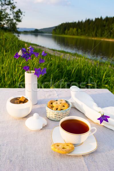 вечер чай закат реке мнение Кубок Сток-фото © TasiPas