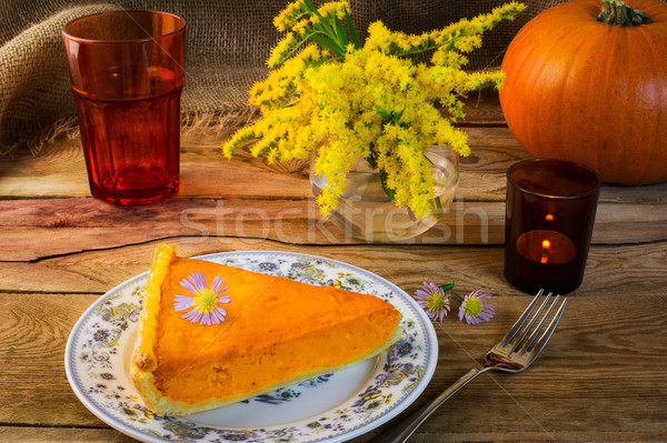 Stock photo: Thanksgiving pumpkin pie slice on the old wooden table