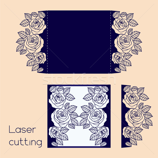 Template of wedding envelope with roses for laser cutting Stock photo © TasiPas