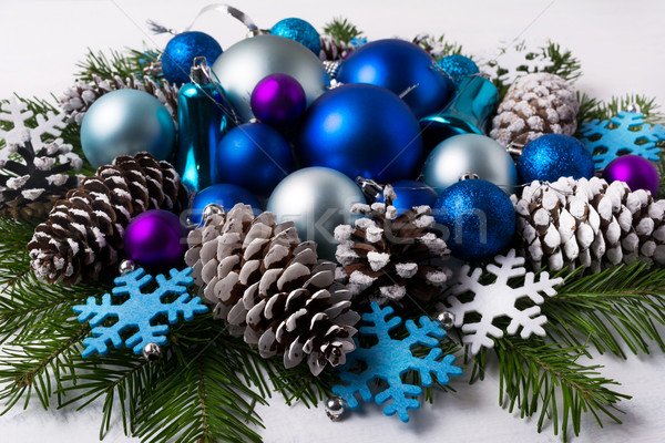 Christmas decoration with purple and blue color shades ornaments Stock photo © TasiPas