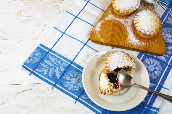 Stock photo: Confiture dessert pie on the white plate