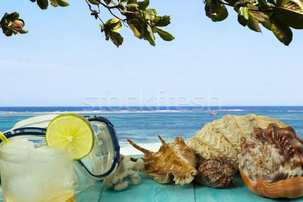 Tenger kilátás tengerpart koktél ital trópusi Stock fotó © TasiPas