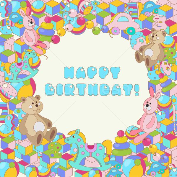 Boldog születésnapot vektor színes baba játék illusztráció Stock fotó © TasiPas
