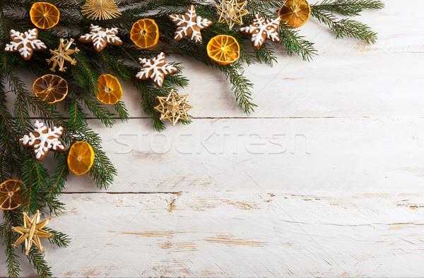 Natale pan di zenzero cookies essiccati arancione fette Foto d'archivio © TasiPas