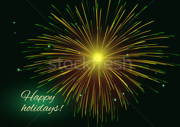 Golden green radiant fireworks background, copy space Stock photo © TasiPas
