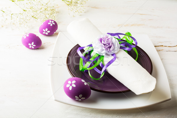 Purple mauve lilac Easter table place setting  Stock photo © TasiPas