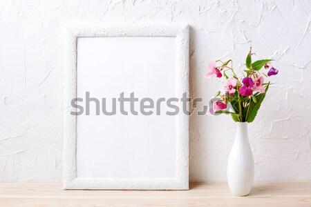 Witte frame roze bloemen elegante Stockfoto © TasiPas