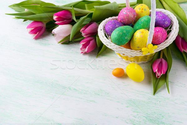 Húsvét tarka csillámlás tojások fonott kosár Stock fotó © TasiPas