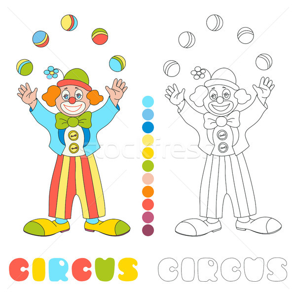 Circus vector clown juggler coloring book page Stock photo © TasiPas
