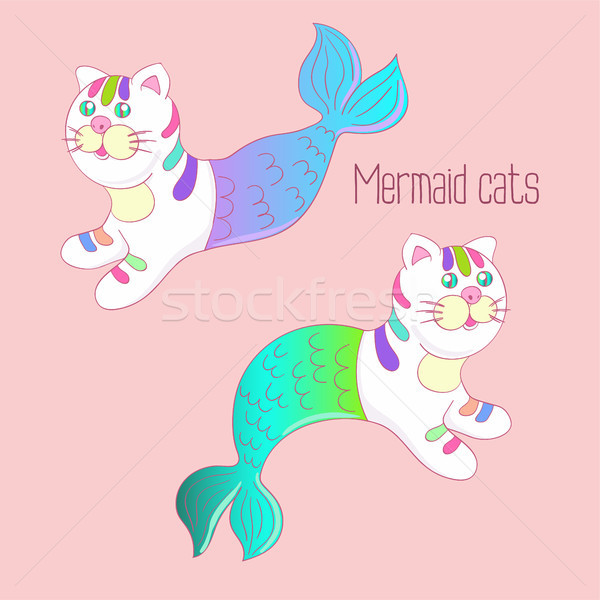 Two mermaid cats with colorful tails Stock photo © TasiPas