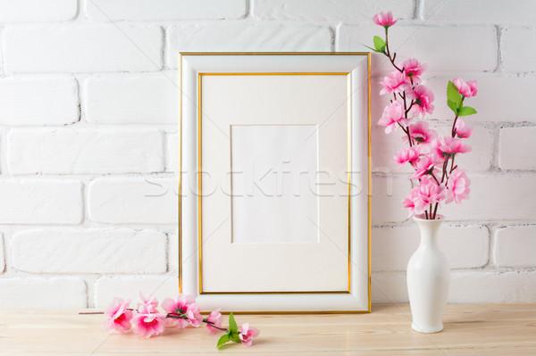 白 フレーム ピンクの花 空っぽ ストックフォト © TasiPas