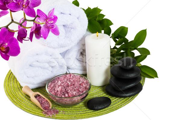 Spa producto rosa sal marina tratamiento de spa masaje Foto stock © TasiPas