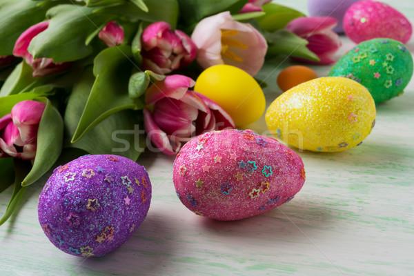 Húsvét csillámlás díszített tojások csillagok lila Stock fotó © TasiPas