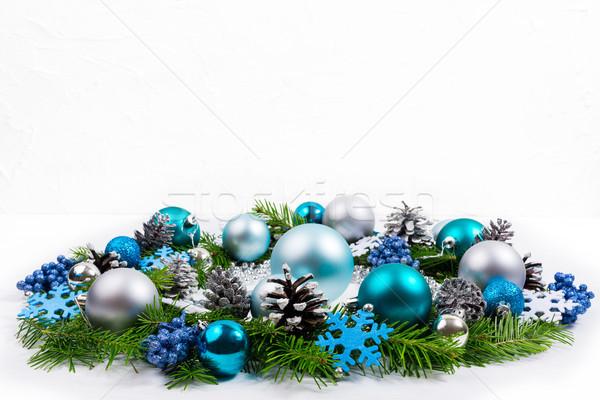 Christmas srebrny niebieski turkus wieniec kopia przestrzeń Zdjęcia stock © TasiPas