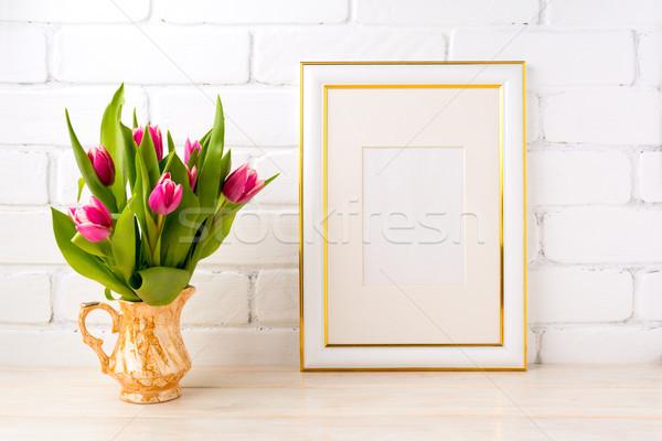 Arany díszített keret vázlat rózsaszín tulipánok Stock fotó © TasiPas