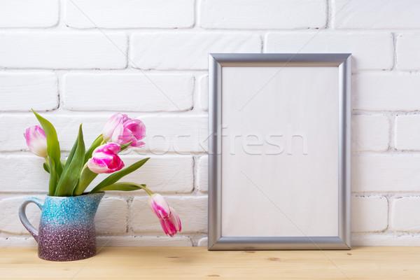 Ezüst keret vázlat rózsaszín tulipán lila Stock fotó © TasiPas