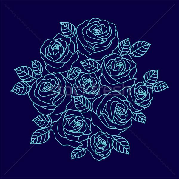 Blue outline roses wreath on the dark blue background. Floral de Stock photo © TasiPas