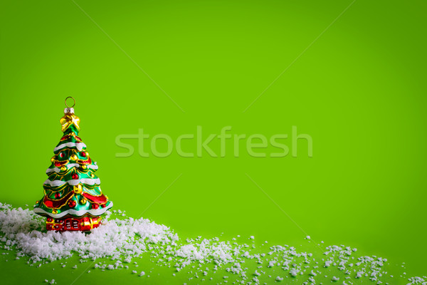 Christmas background with glass Christmas tree ornament Stock photo © TasiPas
