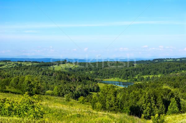 Summer beautiful hills landscape with blue lake Stock photo © TasiPas