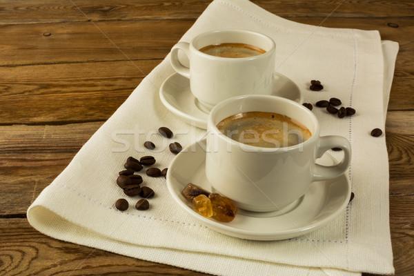 Iki kahve beyaz peçete bo Stok fotoğraf © TasiPas