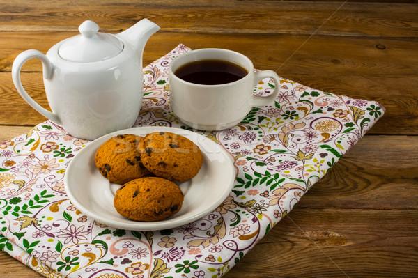 Ontbijt thee houten eigengemaakt biscuit dessert Stockfoto © TasiPas