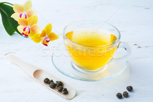 Taza té té verde hojas blanco Foto stock © TasiPas