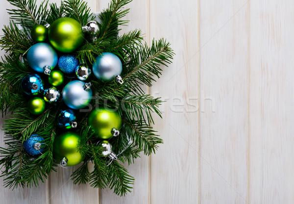 Christmas groene Blauw zilver ornamenten partij Stockfoto © TasiPas