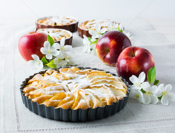 Homemade pie with red apples close up Stock photo © TasiPas