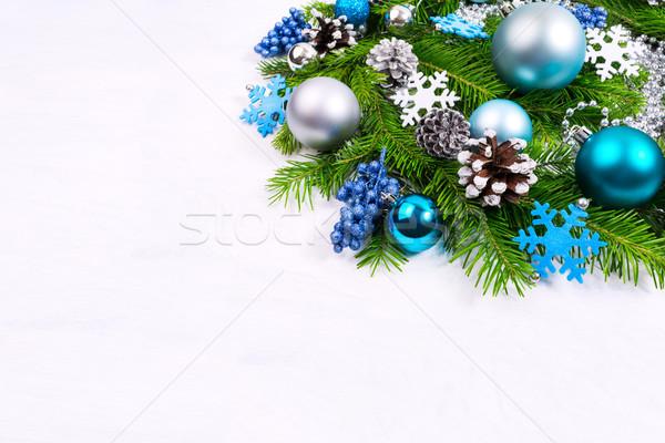 Karácsony üdvözlet ezüst sápadt kék türkiz Stock fotó © TasiPas