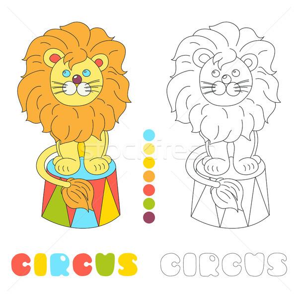 Vicces oroszlán ül cirkusz aréna vektor Stock fotó © TasiPas