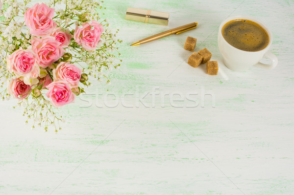 Roses and coffee styled background Stock photo © TasiPas