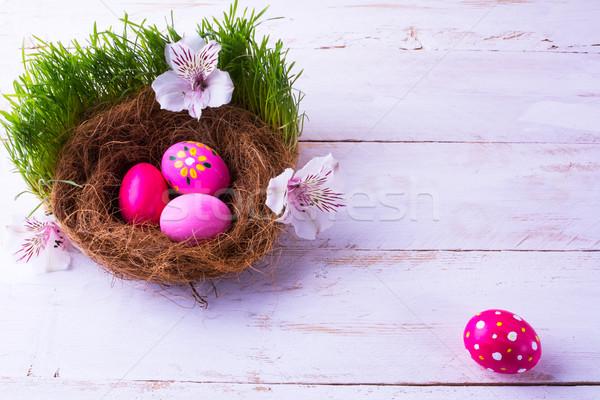 Easter eggs in a nest in grass  Stock photo © TasiPas