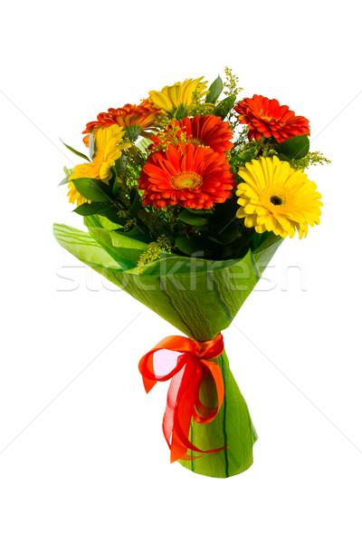 Rood gele bloem boeket geïsoleerd witte groet Stockfoto © TasiPas