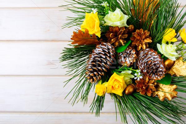 クリスマス 黄色 シルク バラ 松 ストックフォト © TasiPas