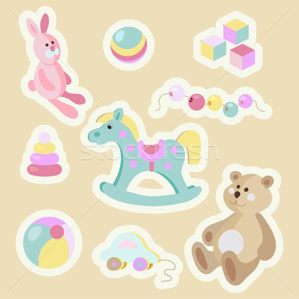 Gyerekek játékok rajz pasztell matrica szett Stock fotó © TasiPas