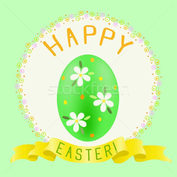 Húsvét zöld színes tojás arany szalag kellemes húsvétot Stock fotó © TasiPas