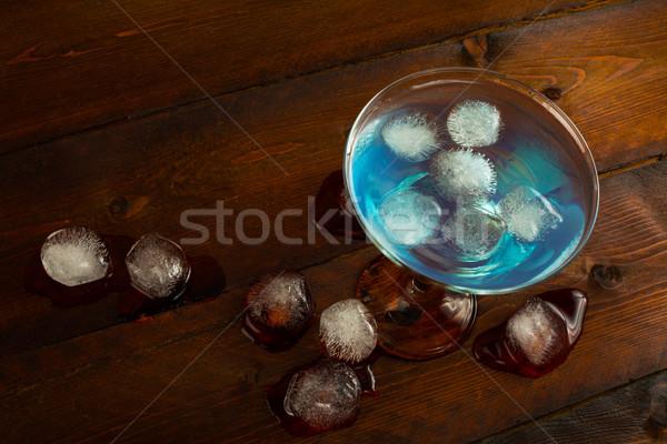 Blue Lagoon cocktail top view Stock photo © TasiPas