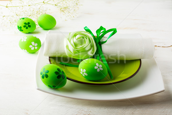 Green Easter table place setting  Stock photo © TasiPas