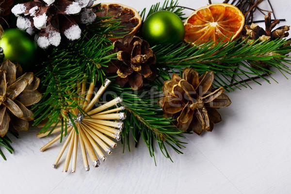 Karácsonyfa ágak szalmaszál csillagok fenyőfa karácsony Stock fotó © TasiPas