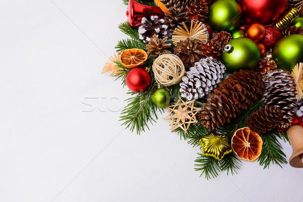 Сток-фото: Рождества · украшение · соснового · красный · зеленый