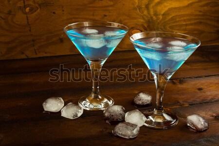 Azul cóctel servido vaso de martini martini frutas Foto stock © TasiPas