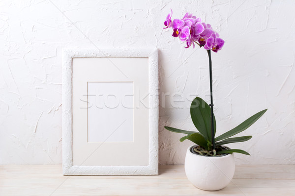 White frame mockup with purple orchid in flower pot Stock photo © TasiPas