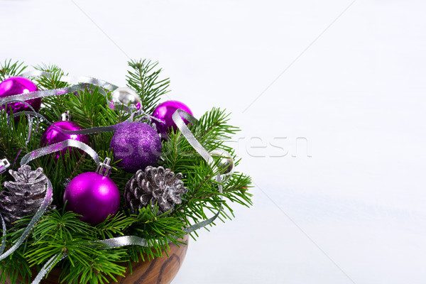 Karácsony csillámlás lila díszek asztal fenyő Stock fotó © TasiPas