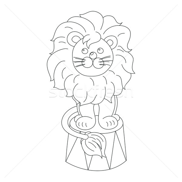 Lion sitting in a circus arena vector outline  Stock photo © TasiPas