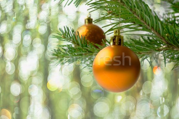 Kerstboom tak gouden christmas groet Stockfoto © TasiPas